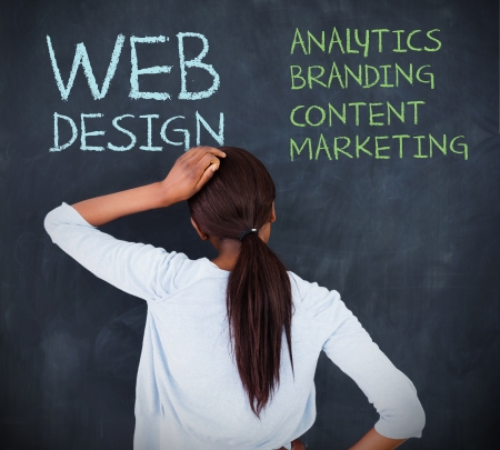 web content: Doubtful businesswoman looking at a chalkboard