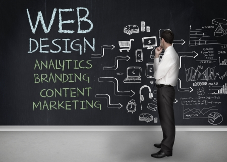 design web: Businessman standing in front of a chalkboard with web design terms written on it