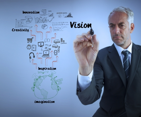 blue grey coat: Elegant businessman writing the word vision with a marker against blue background Stock Photo