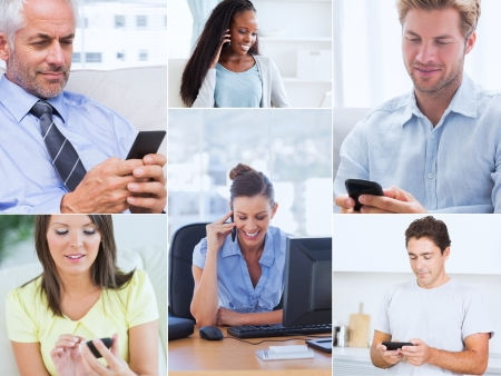 Collage of various pictures showing people using their mobile phone photo