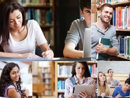 Montage of pictures showing various students with books in library photo