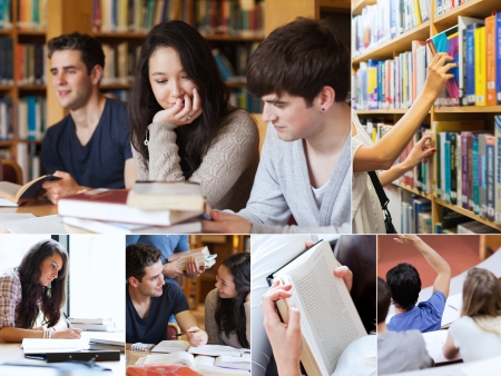 student library: Collage of students in library reading books