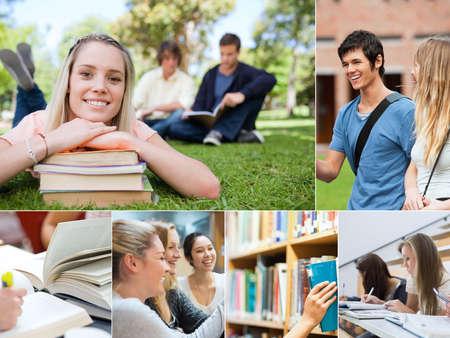 Collage van studenten op de universiteit Stockfoto
