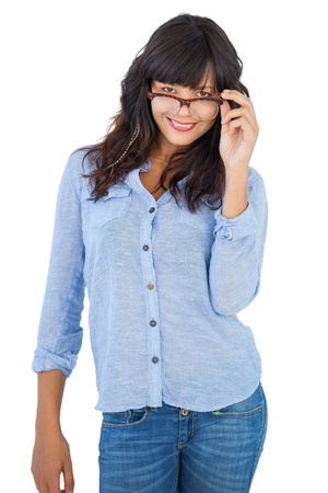Cute woman wearing glasses on white background photo
