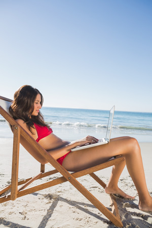 Woman on the beach using her laptop while relaxing on her deck chair photo