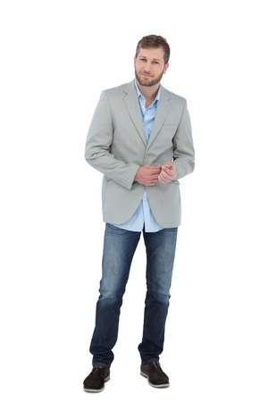 suave: Suave man in a blazer posing on white background