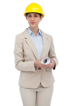 Architect with hard hat on white background  photo