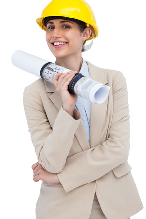Young architect posing on white background  photo