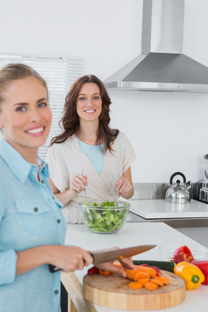 Relaxed women cooking together in the kitchen photo