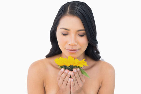 Natural black haired model smelling sunflower on white background photo
