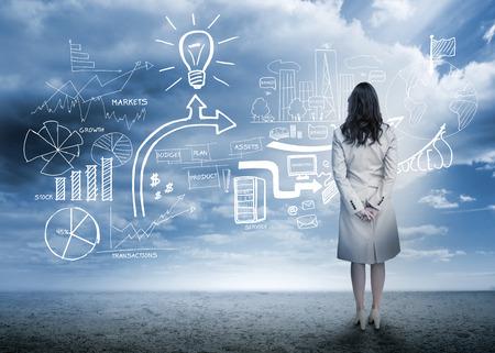 mujer mirando el horizonte: Empresaria de pie viendo diagrama de flujo de comercializaci�n de ajuste del desierto