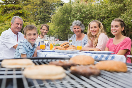 Happy family having a barbecue in the park together smiling at camera photo