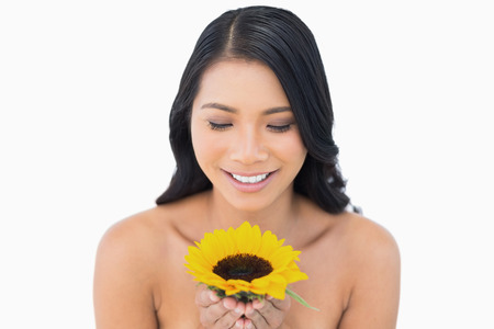 Smiling natural black haired model holding sunflower on white background photo