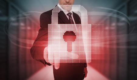 lock  futuristic: Imprenditore toccando futuristico touchscreen blocco rosso in data center