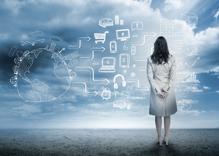 forecast: Businesswoman looking out at brainstorm drawings in cloudy landscape
