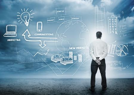digital marketing: Businessman considering a brainstorm for marketing in cloudy landscape