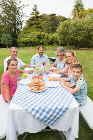 Happy extended family having dinner outdoors at picnic table smiling at camera photo