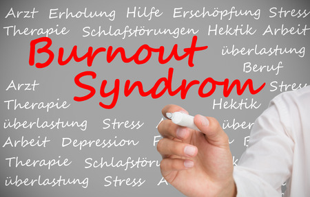Hand writing german words about burnout syndrome on grey background