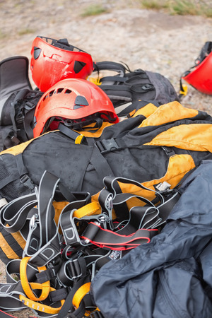 Climbing gear on a rock photo