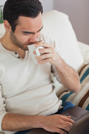 Peaceful attractive man drinking coffee while using his laptop in bright living room Stock Photo - 25824367