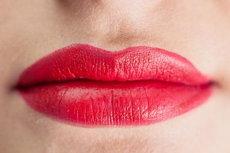 voluminous: Extreme close up on sensual voluminous red lips