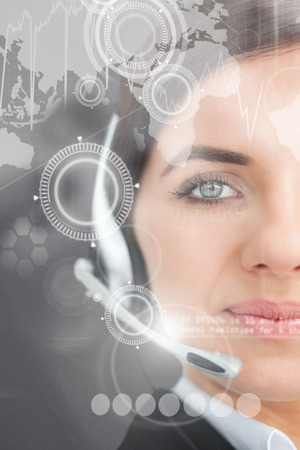 call center female: Blue eyed businesswoman with headset against white background