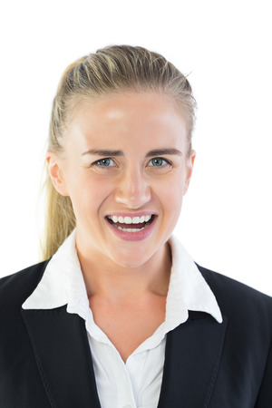outraged: Portrait of outraged blonde businesswoman on white background