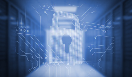 data protection: Digitally generated lock on circuit board in blue room Stock Photo