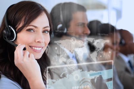 call: Smiling worker doing her job with a headset while looking at the camera
