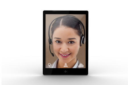 call: Digital tablet displaying cheerful pretty businesswoman on white background