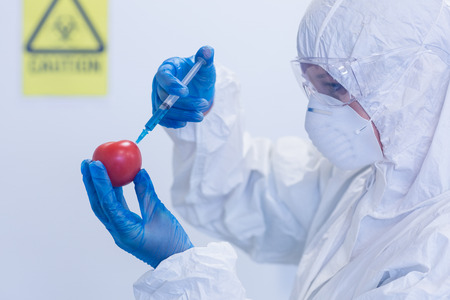 Close-up of a researcher in protective suit injecting a tomato at the lab photo