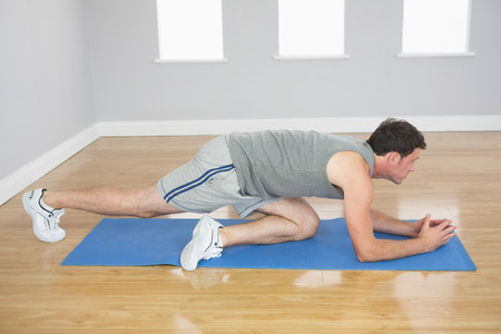plank position: Attractive sporty man exercising on blue mat in bright room