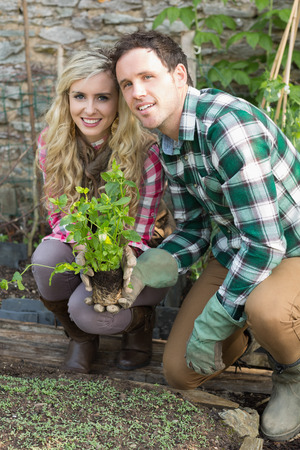 Happy couple crouching in their garden holding a plant smiling at camera photo