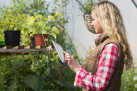 Blonde woman using her tablet in a green house and looking at plants photo