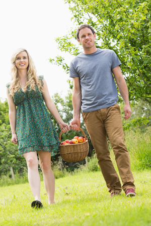 Sweet couple carrying a basket of apples together in the garden photo