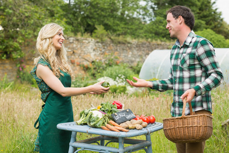 Young female farmer selling some vegetables to a cute man at farmers market photo