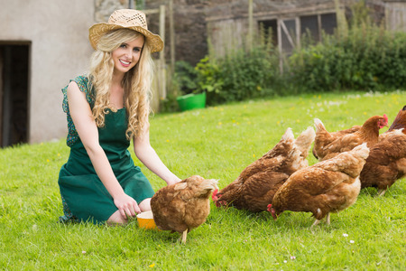 Young pretty blonde feeding her chickens smiling at camera kneeling on the grass photo