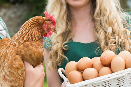 Young couple holding chicken and basket of eggs in the  garden photo