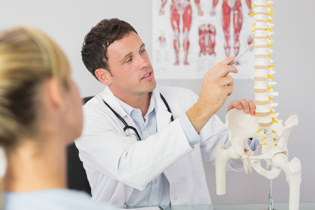 chiropractor: Good looking doctor showing a patient something on skeleton model in bright office Stock Photo