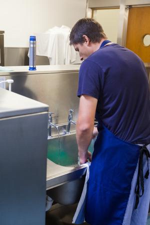 Kitchen porter standing behind sink in professional kitchen