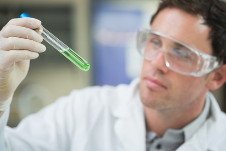 Close up of a male scientist analyzing green solution in test tube at the laboratory Stock Photo - 26773028