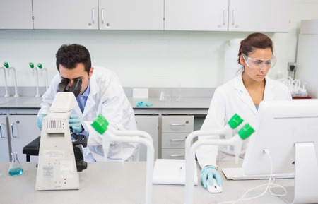 Two busy researchers using microscope and computer in the laboratory photo