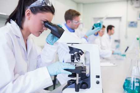 laboratory research: Side view of busy group of researchers working on experiments in the laboratory