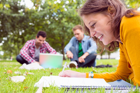 Young student writing notes with two males using laptop in background at the park photo