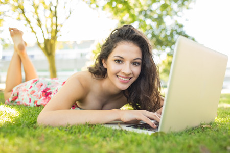 Stylish smiling brunette lying on the grass using her laptop in a park on a sunny day photo
