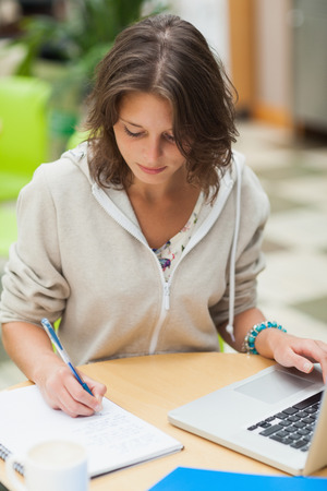 Concentrated female student doing homework by laptop at cafeteria table photo