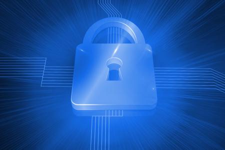 lock  futuristic: Serratura Digitale generato su sfondo blu futuristico Archivio Fotografico