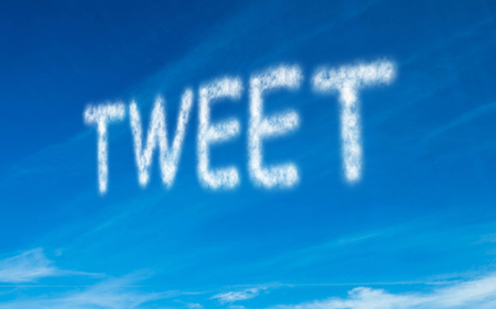Tweet written in white in sky Stock Photo - 25779145