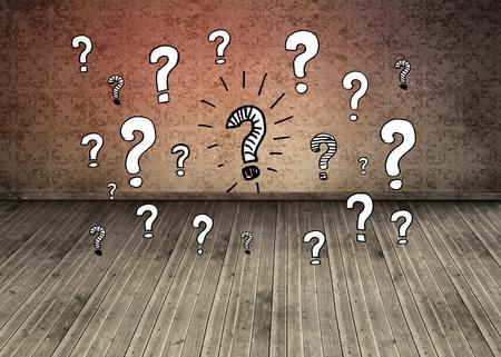 floorboards: Question marks over dark room with floorboards