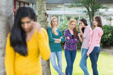 friendless: Female student being bullied by other group of students